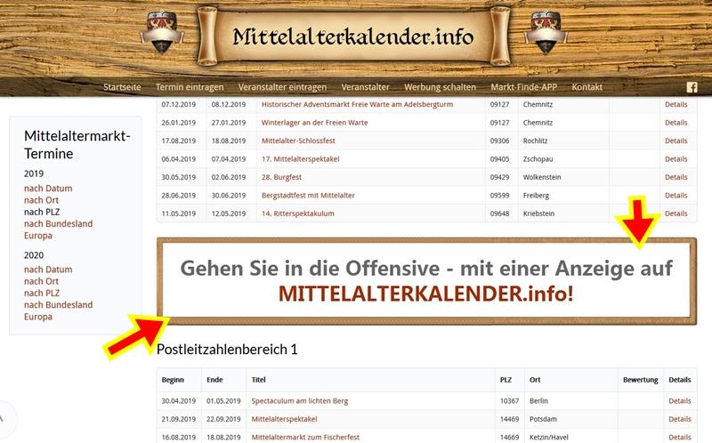 Ihre Werbung auf MITTELALTERKALENDER.INFO